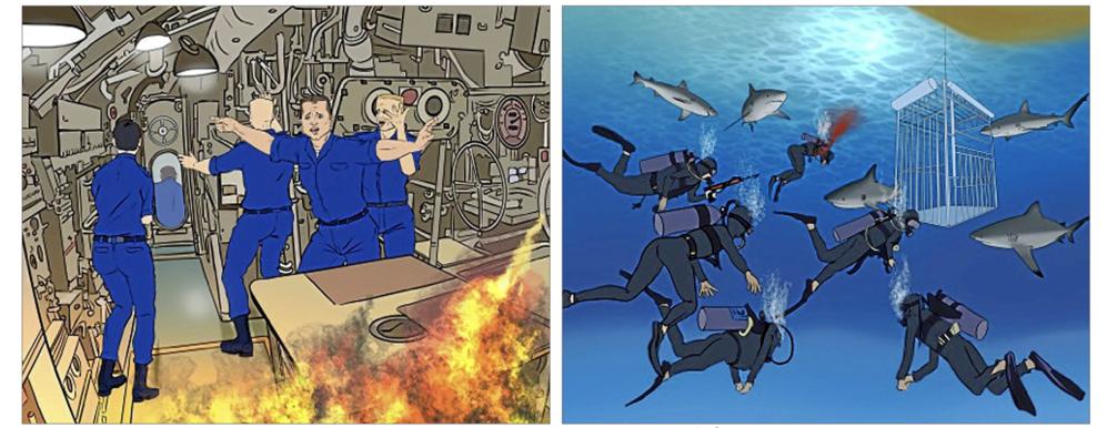 Ilustraciones que representan dos de los dilemas morales que se...