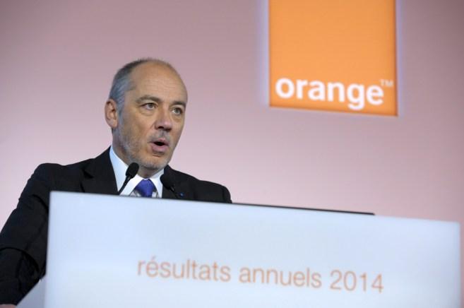 El CEO de Orange, Stephane Richard, durante la presentación de los...