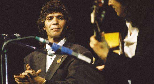 Camarón, de concierto, en enero de 1989.