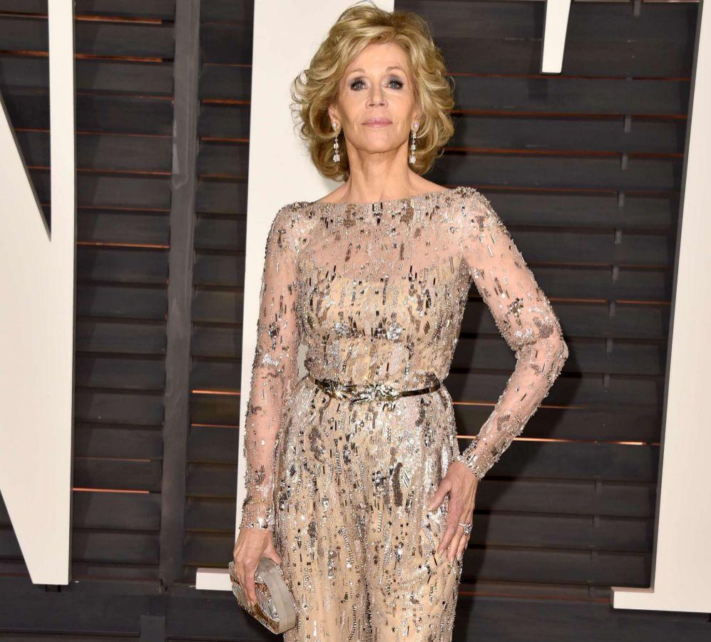 La actriz Jane Fonda, a su llegada a la fiesta de Vanity Fair.