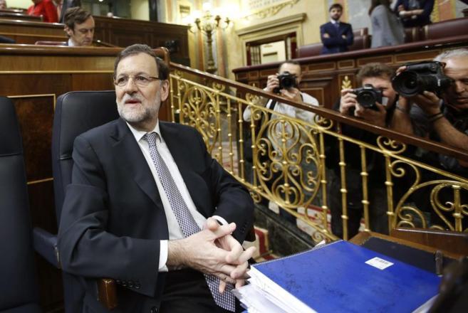 Mariano Rajoy, al inicio de la segunda jornada del Debate sobre el...