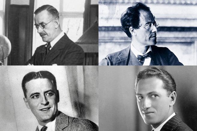 De izquierda a derecha, arriba, Thomas Mann y Gustav Mahler. Abajo,...