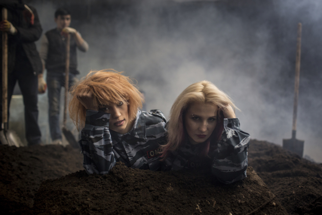 Members of the punk band Nadya Tolokónnikova and Masha Alyokhina pose...