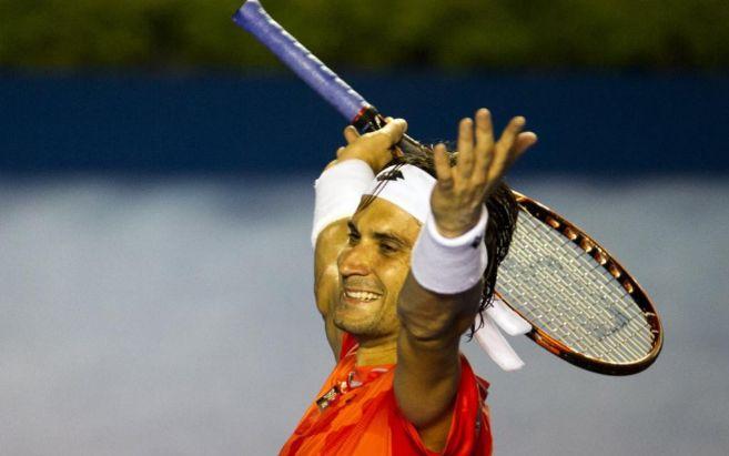 David Ferrer celebra su triunfo.