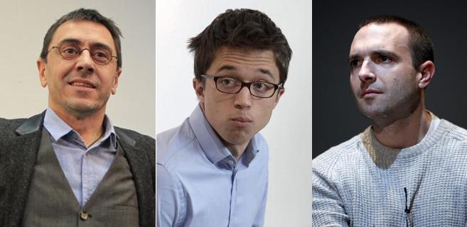 Juan Carlos Monedero, Íñigo Errejón y Luis Alegre.