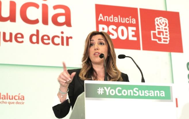 Susana Díaz, este lunes durante la presentación del programa...