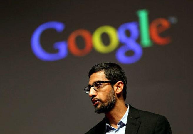 El vicepresidente de Google, el indio Sundar Pichai, durante su...
