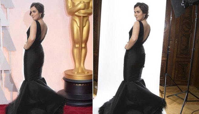 Anna Allen, a la izquierda en el fotomontaje en los Oscar, y a la...