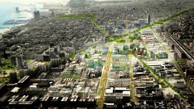 Representación gráfica de la planificación de Barcelona como ciudad...