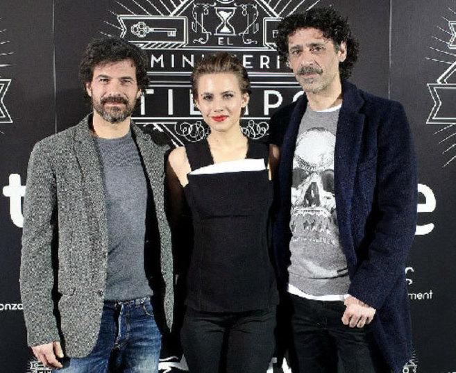 Los actores Rodolfo Sancho, Aura Garrido y Nacho Fresneda, durante la...
