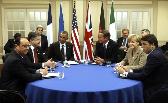 F. Hollande, P. Poroshenko, B. Obama, D. Cameron, A. Merkel y M. Renzi...