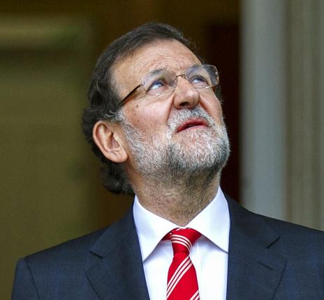 Mariano Rajoy, ayer, en la recepción a Juan Manuel Santos.