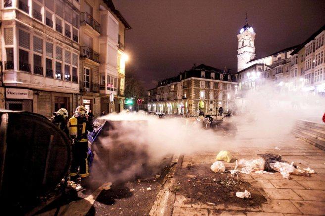 Disturbios posteriores a la manifestación  en el casco antiguo de...