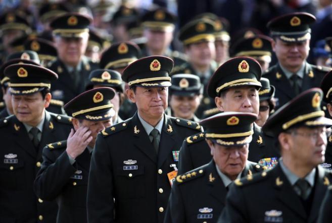 Militares llegan al Gran Palacio del Pueblo para la 12º  Sesión...