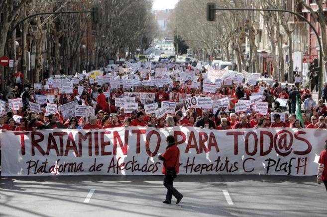 Afectados por hepatitis C, en una marcha hasta el Congreso de los...