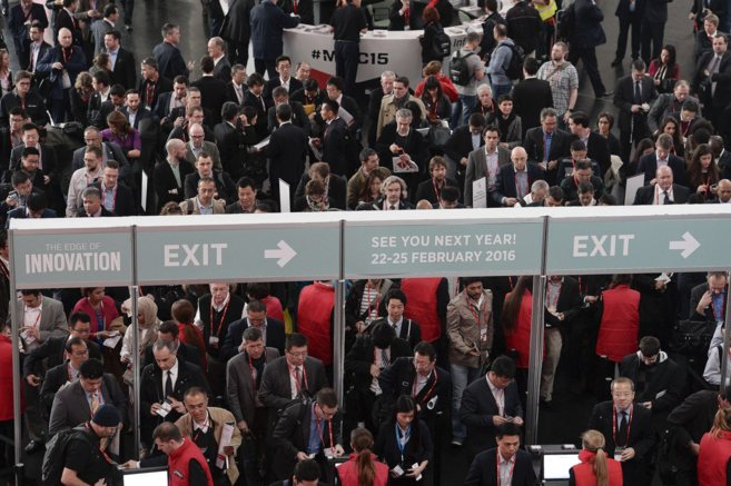 Asistentes al Mobile World Congress.
