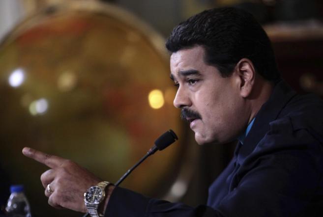 Nicolás Maduro durante su discurso en el Palacio de Miraflores.