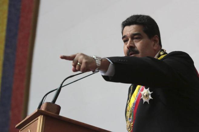 Nicolás Maduro durante su discurso en el Parlamento.