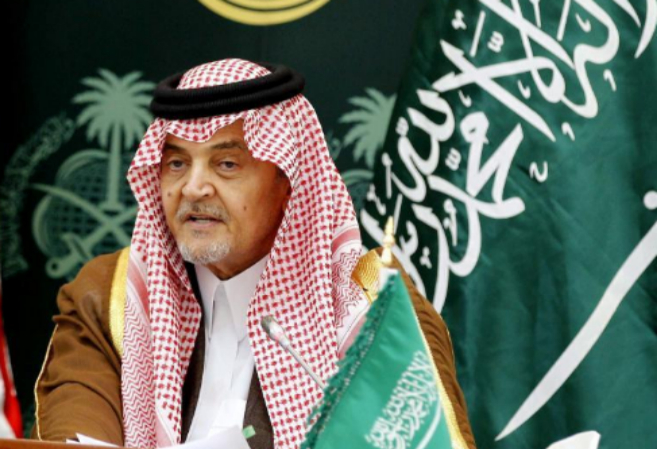 El ministro saudí de Exteriores, Saud al Faisal, durante una rueda de...