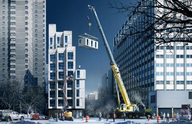Recreación de cómo se llevará a cabo la construcción modular de...