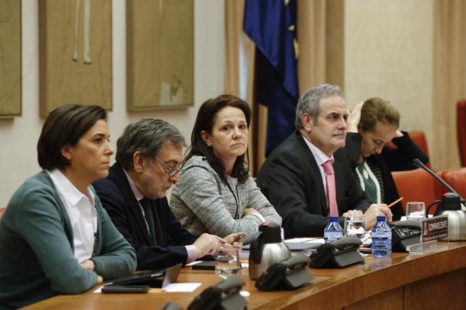 Montserrat Gomendio, en el centro, en la comisión de Educación del...