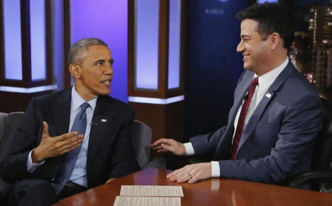 Barack Obama, junto al periodista Jimmy Kimmel, durante la entrevista.