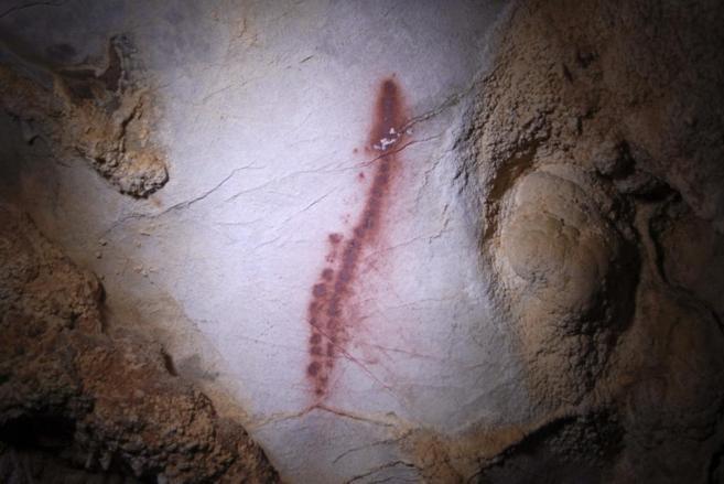 Un ejemplo de las pinturas encontradas en la cueva Áurea, en...