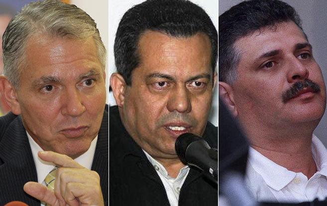 De izda. a dcha., Javier Alvarado, ex viceministro de Desarrollo Energético; Alcides Rondón, ex viceministro de Interior y Seguridad Ciudadana y Carlos Aguilera, Ex director del servicio de Inteligencia de Venezuela y ex guardaespaldas de Chávez.