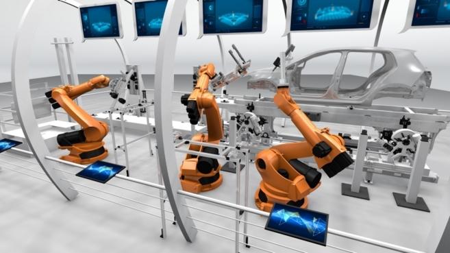 Simulación de Siemens de una fábrica del futuro con un ejemplo de VW...