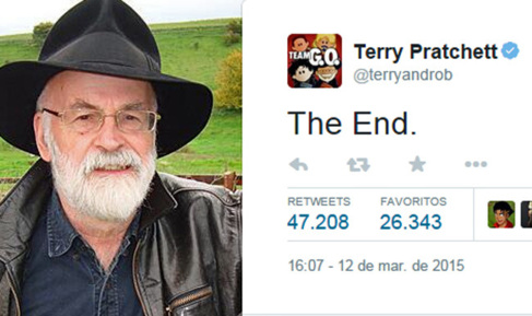 Captura de la despedida de Terry Pratchett en Twitter.