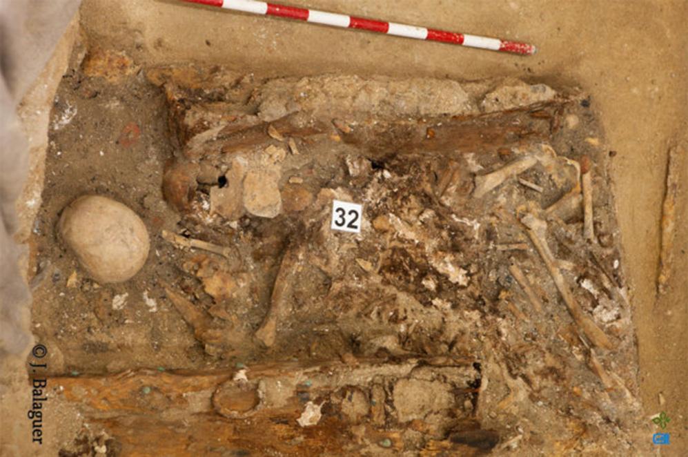 Restos encontrados en el Conventro de las Trinitarias donde se ha...