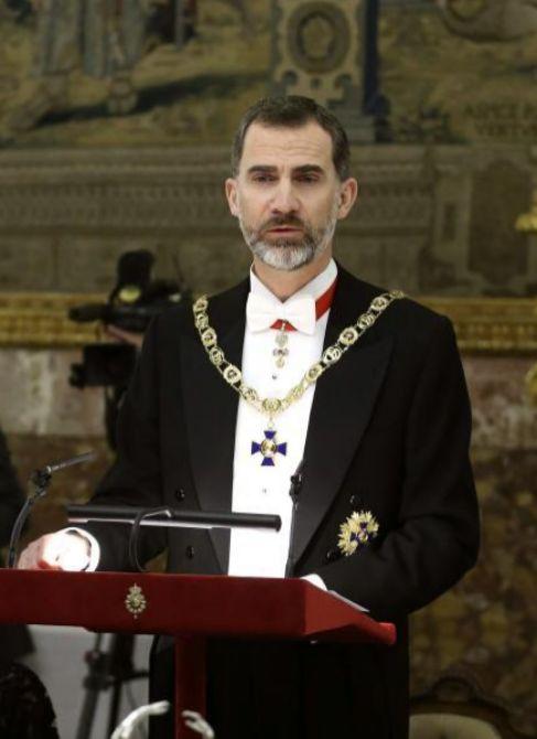 Felipe VI, durante su discurso al inicio de la cena de gala ofrecida...