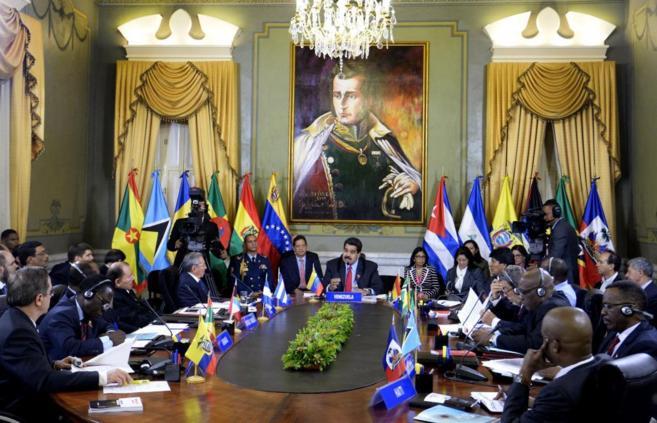Los presidentes de los países de la ALBA durante su reunión en...