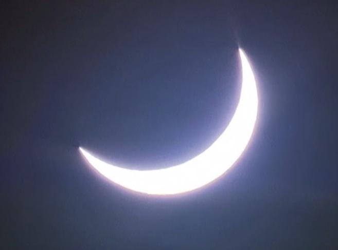 El 75% del disco solar, cubierto por la Luna durante un eclipse.