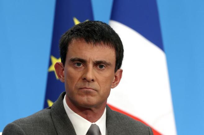 El primer ministro galo, Manuel Valls, en una rueda de prensa en...