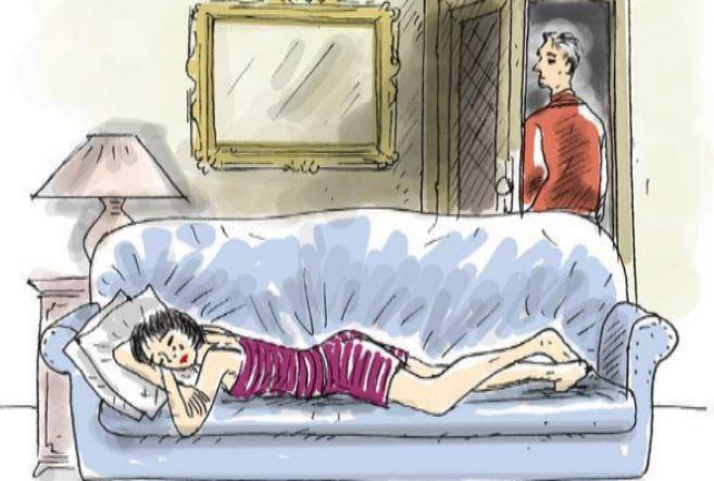 Ilustracion de una mujer llorando en un sofá tras romper con su...