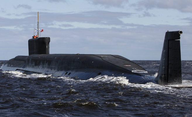 Vista del submarino nuclear ruso Yuri Dolgoruky.