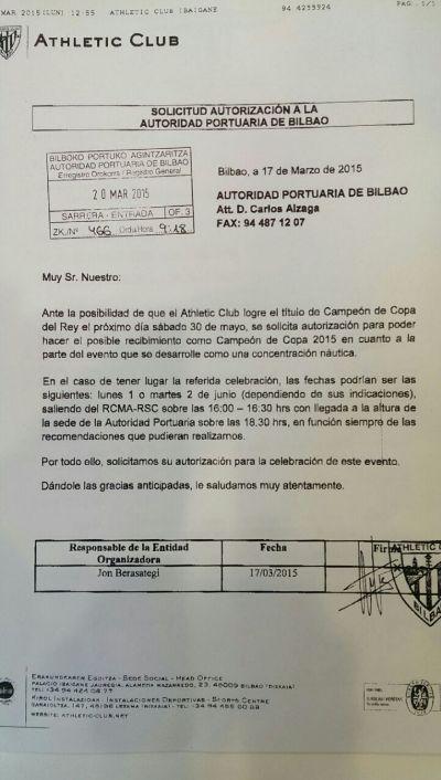 La carta enviada por el Athletioc a la Autoridad Portuaria de Bilbao.