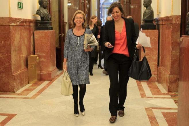Rosa Díez e Irene Lozano, en el Congreso de los Diputados.