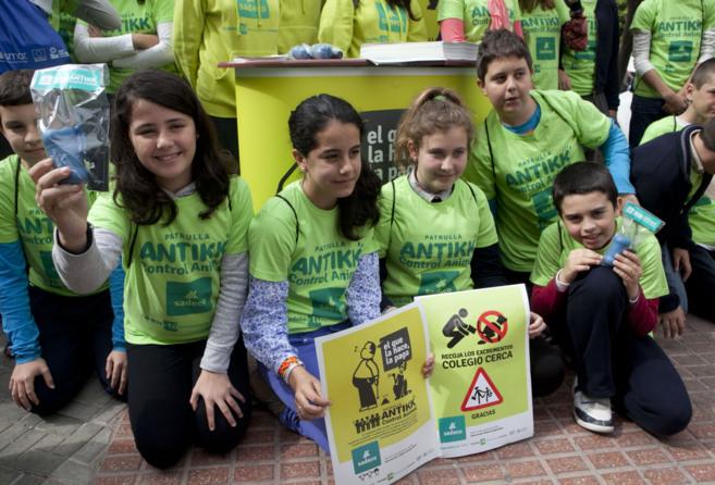 Alumnos del colegio Condesa de Las Quemadas en la presentación de las...