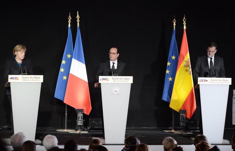 La canciller alemana, el primer ministro francés y el presidente...