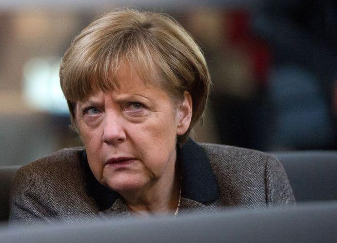 La canciller alemana, Angela Merkel, durante una sesión parlamentaria...