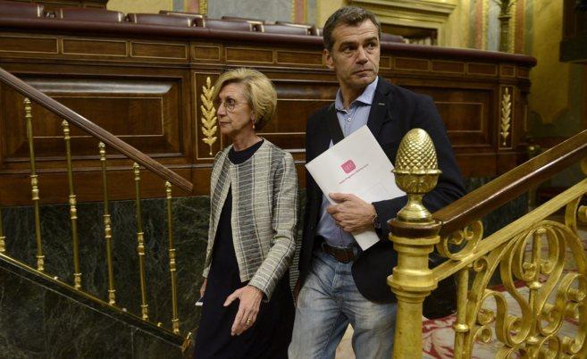 Rosa Díez y Toni Cantó en el Congreso de los Diputados.