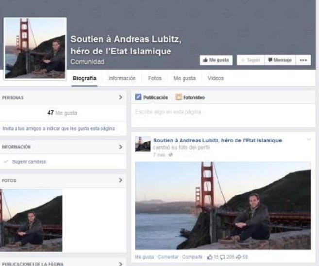 Captura de pantalla de la página abierta y luego cerrada en Facebook