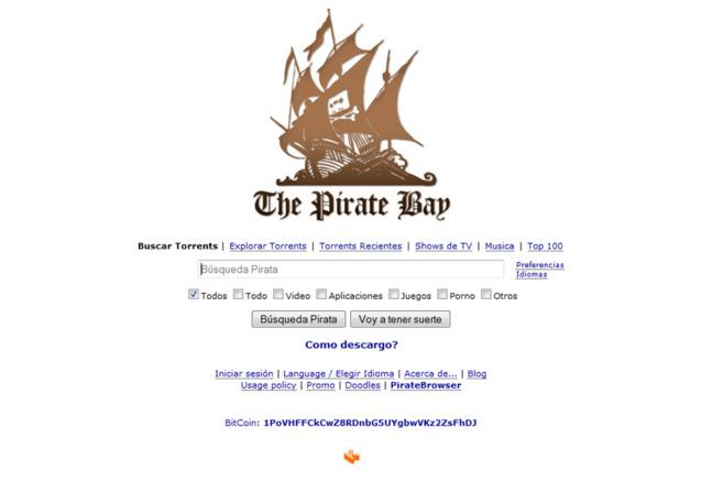 Portada de la página de The Pirate Bay en España, todavía...
