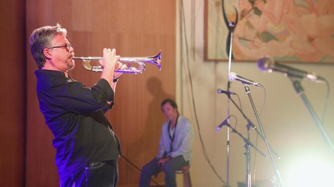 El trompetista David Pastor, durante una actuación.