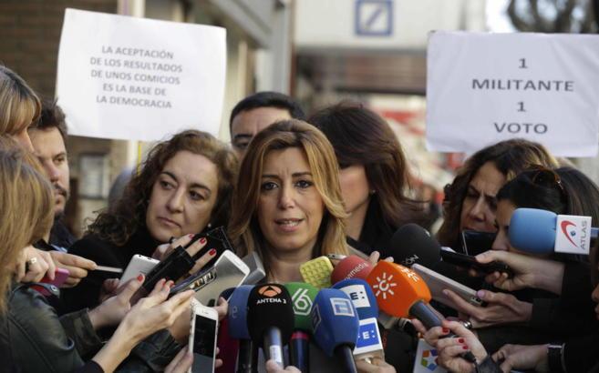 Susana Díaz, a su llegada esta mañana al Comité Federal del PSOE.