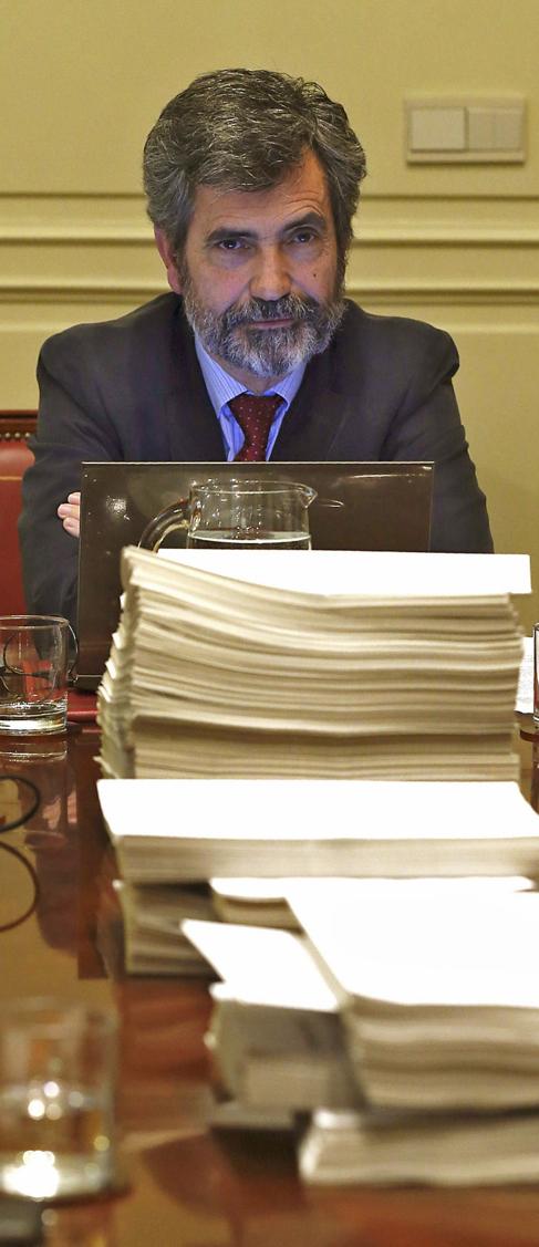 Lesmes, en una reunión de la Comisión Permanente del CGPJ en...