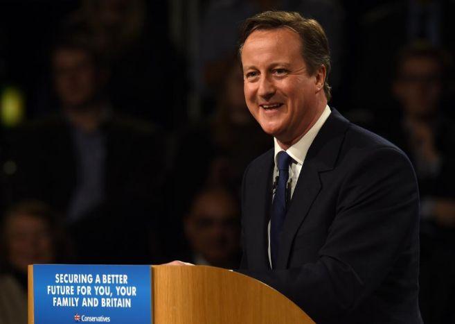 David Cameron, durante su intervención en la convención conservadora...