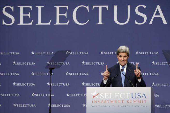 El secretario de Estado de EEUU, John Kerry, durante la conferencia...